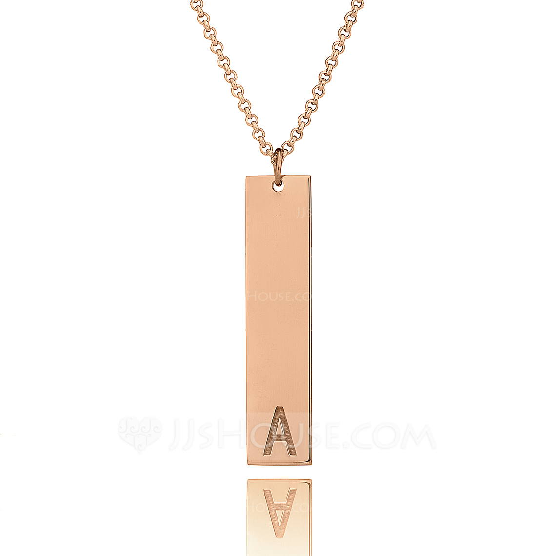 Custom 18k Rose Gold Plated Silver Letter Initial Necklace Bar Necklace - Christmas Gifts