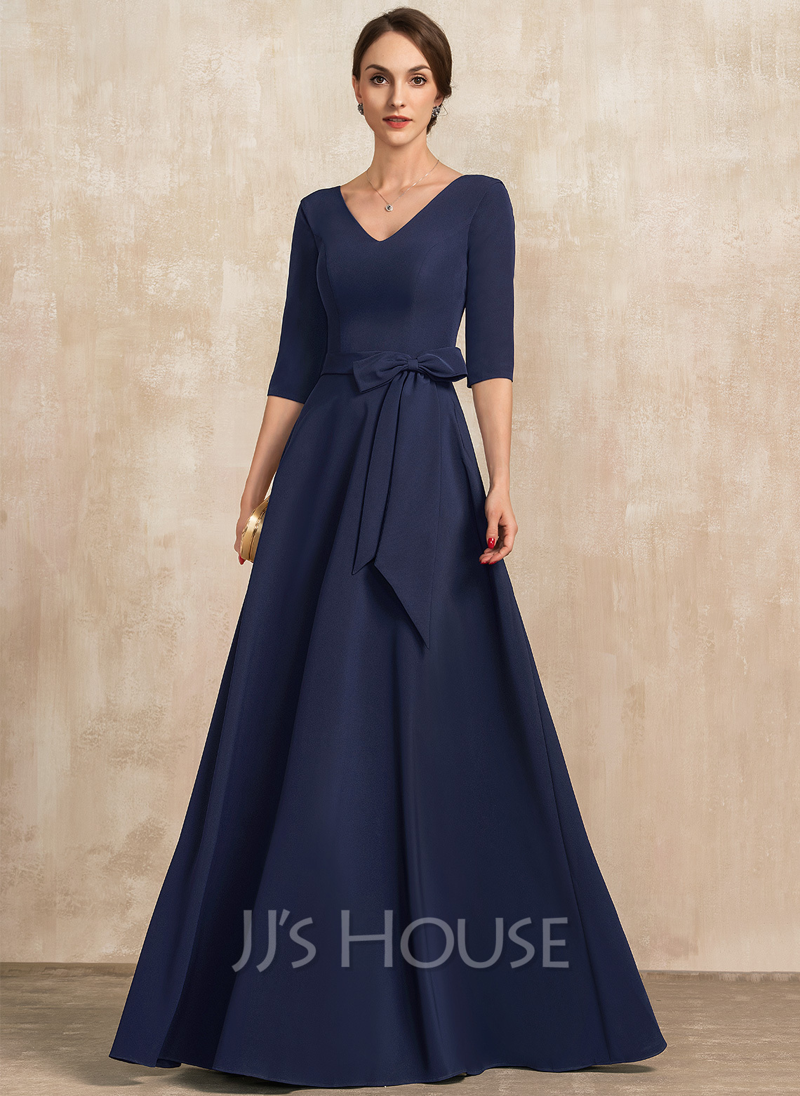 V-neck Floor-Length Stretch Crepe Evening Dress With Bow(s)