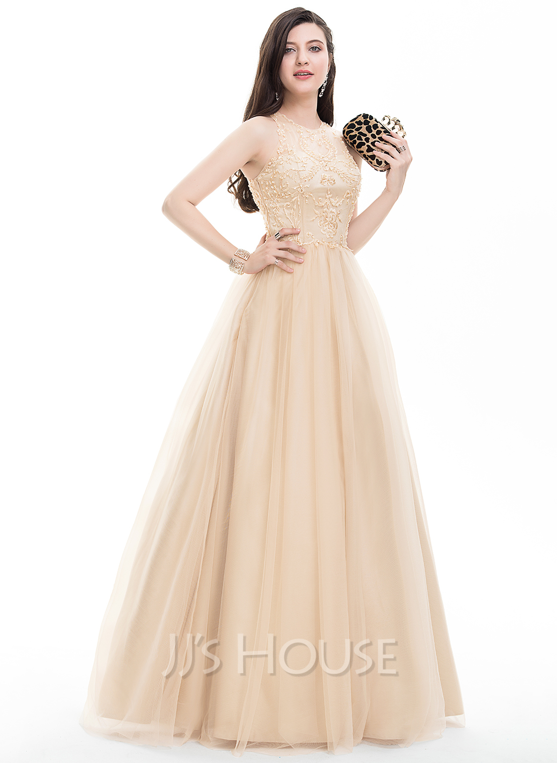 8c4868e5b6b Ball-Gown Scoop Neck Floor-Length Tulle Prom Dresses With Beading Sequins.  Loading zoom