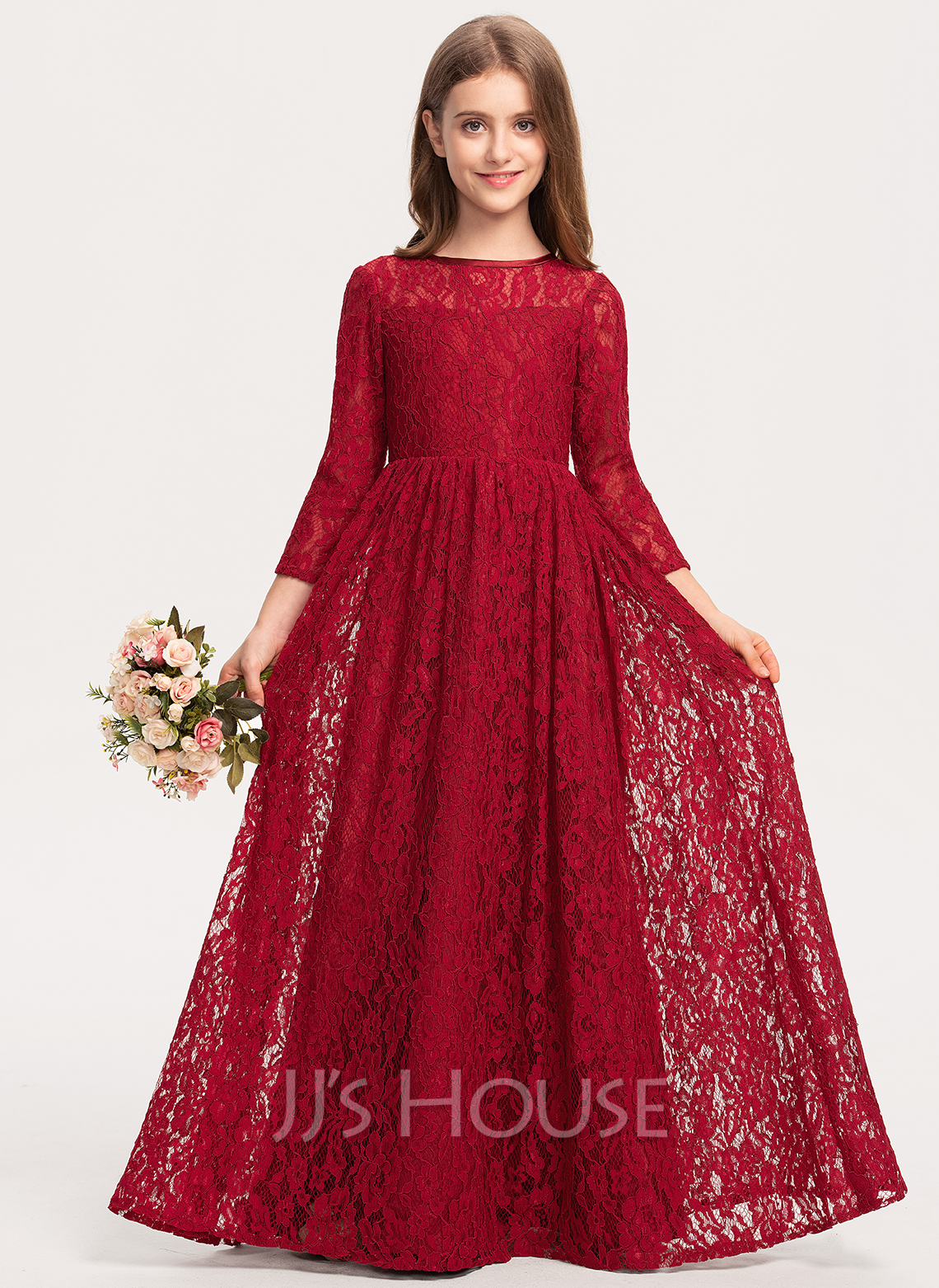 Scoop Neck Floor-Length Lace Junior Bridesmaid Dress