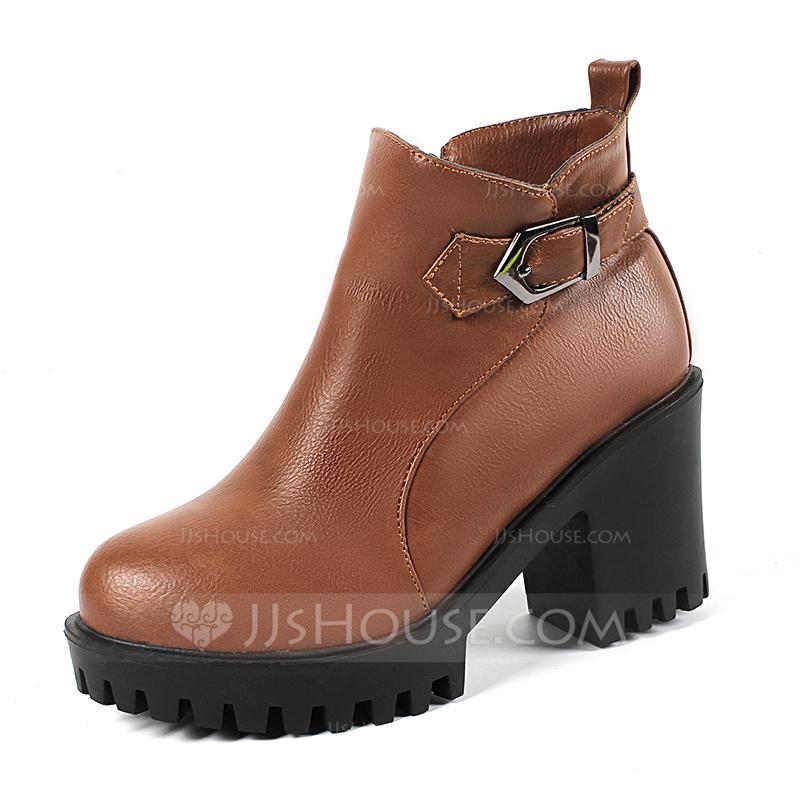 fa05cb70 Kvinner Lær Stiletto Hæl Pumps Lukket Tå Støvler Ankelstøvler med Spenne  Glidelås sko. Loading zoom