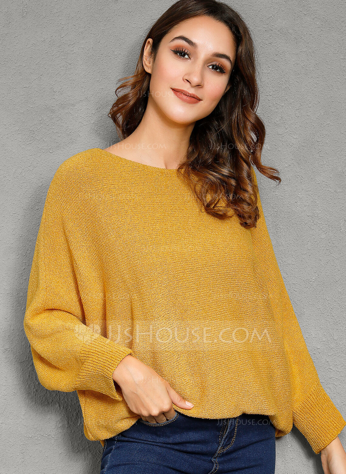 Solid Polyester Round Neck Pullovers Sweaters