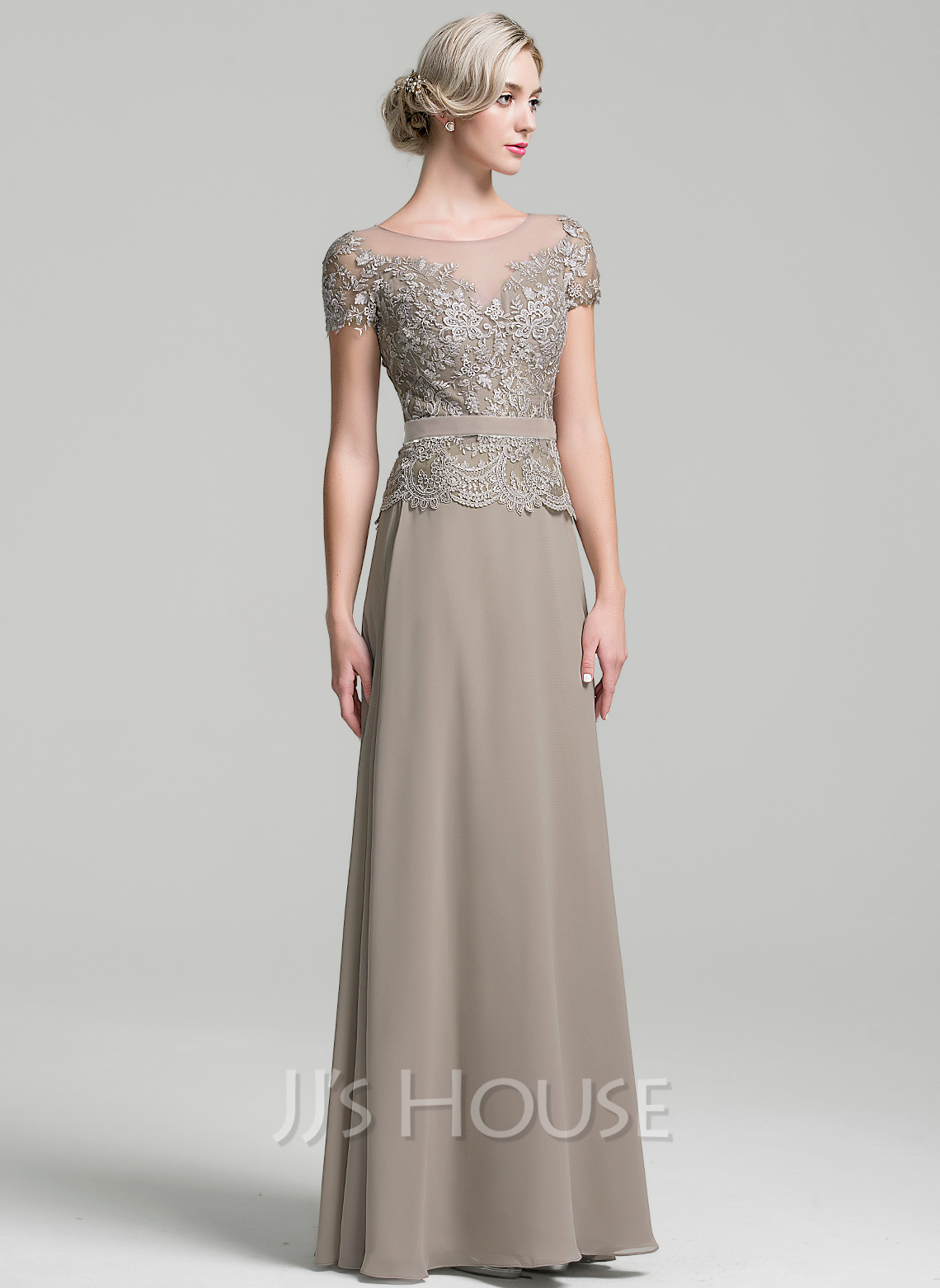 A Line Scoop Neck Floor Length Chiffon Mother Of The Bride