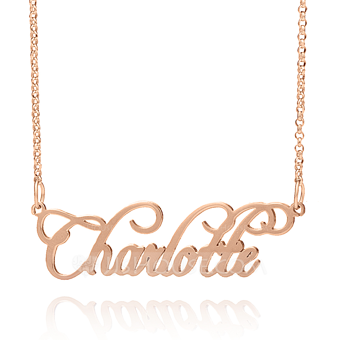 Custom 18k Rose Gold Plated Silver Old English Cursive Name Necklace - Valentines Gifts