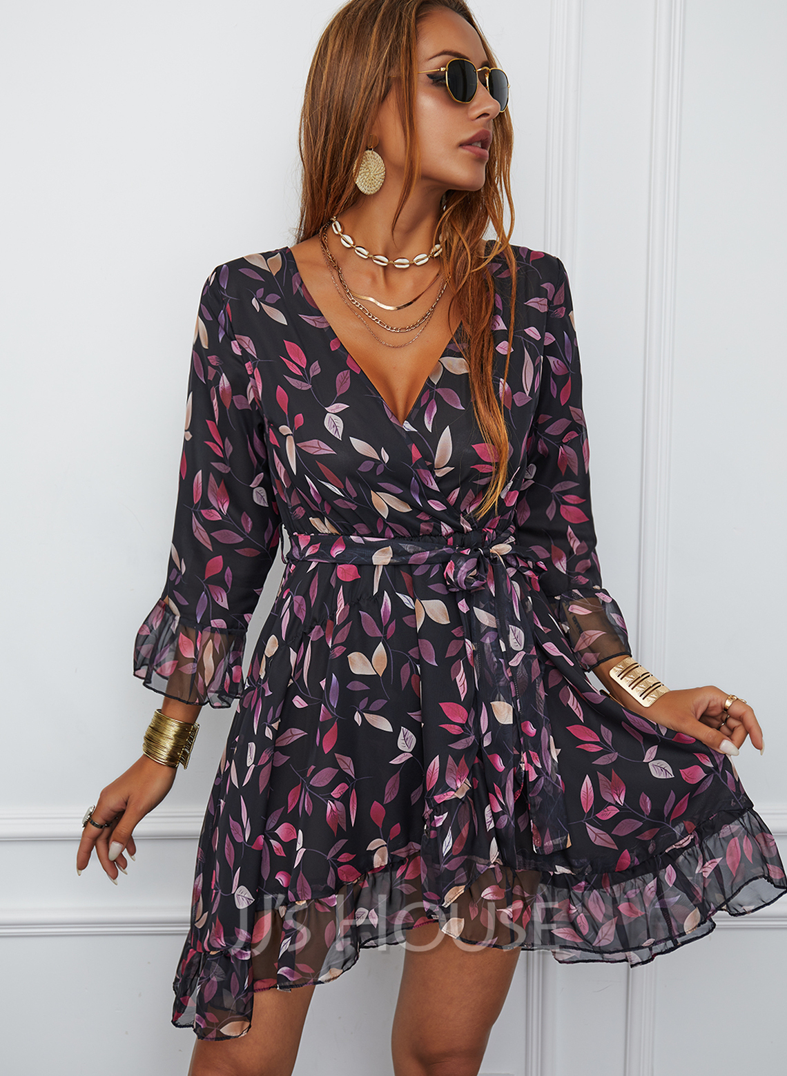 Print A-line V-Neck 3/4 Sleeves Midi Casual Skater Dresses