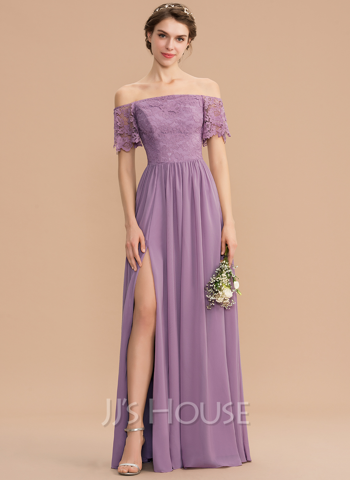 b88d50ae9a8 A-Line Off-the-Shoulder Floor-Length Chiffon Lace Bridesmaid Dress With. Loading  zoom