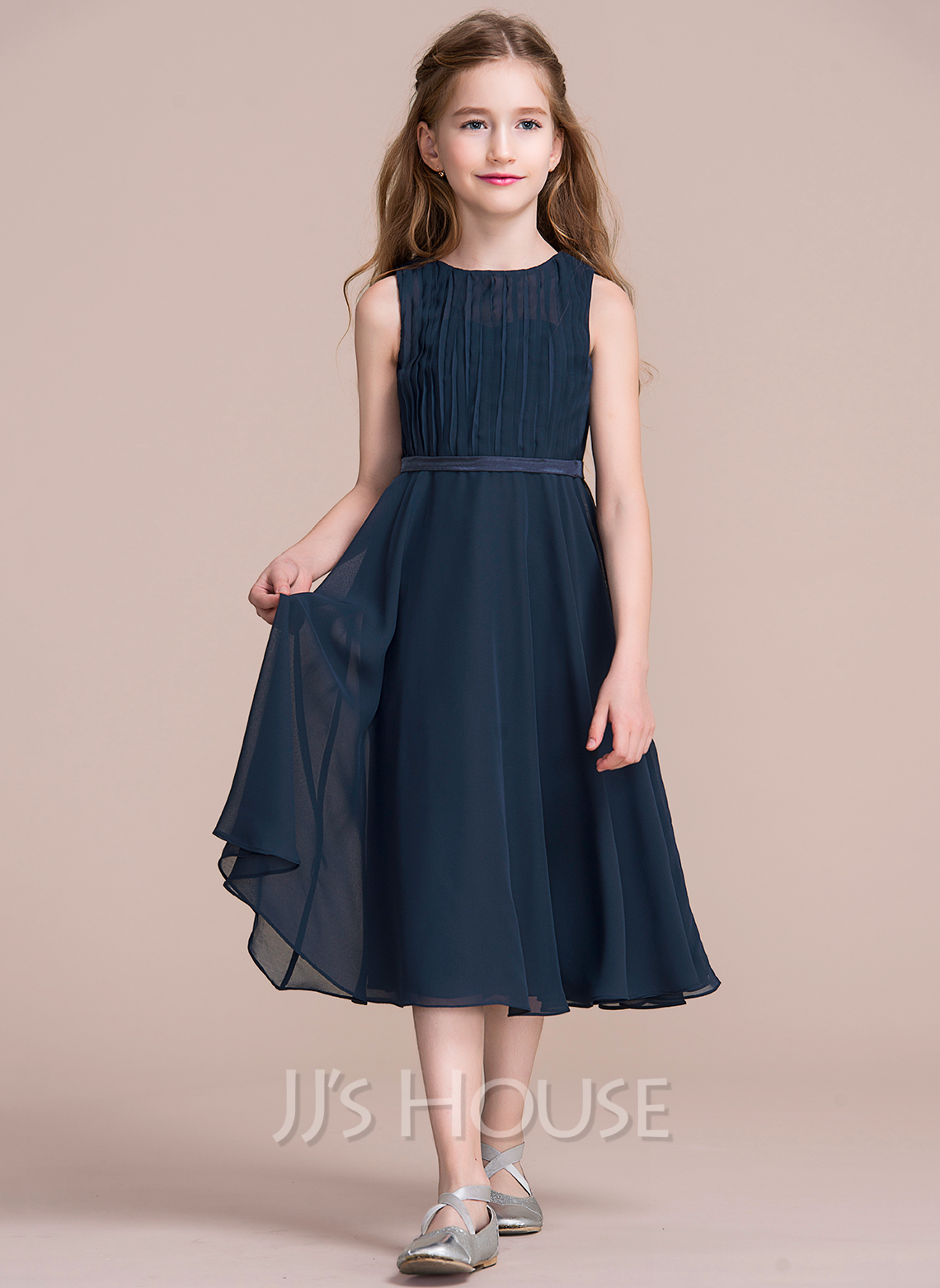 f4790c2de13f A-Line/Princess Scoop Neck Tea-Length Chiffon Junior Bridesmaid Dress With  Ruffle. Loading zoom