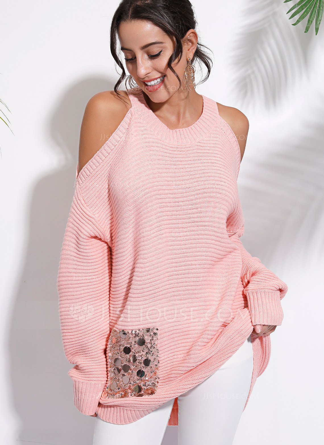 Long Sleeves Polyester Cold Shoulder Knit Blouses
