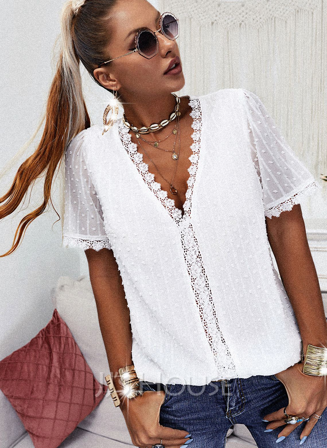 Regular Lace Solid Casual Puff Sleeves Short Sleeves