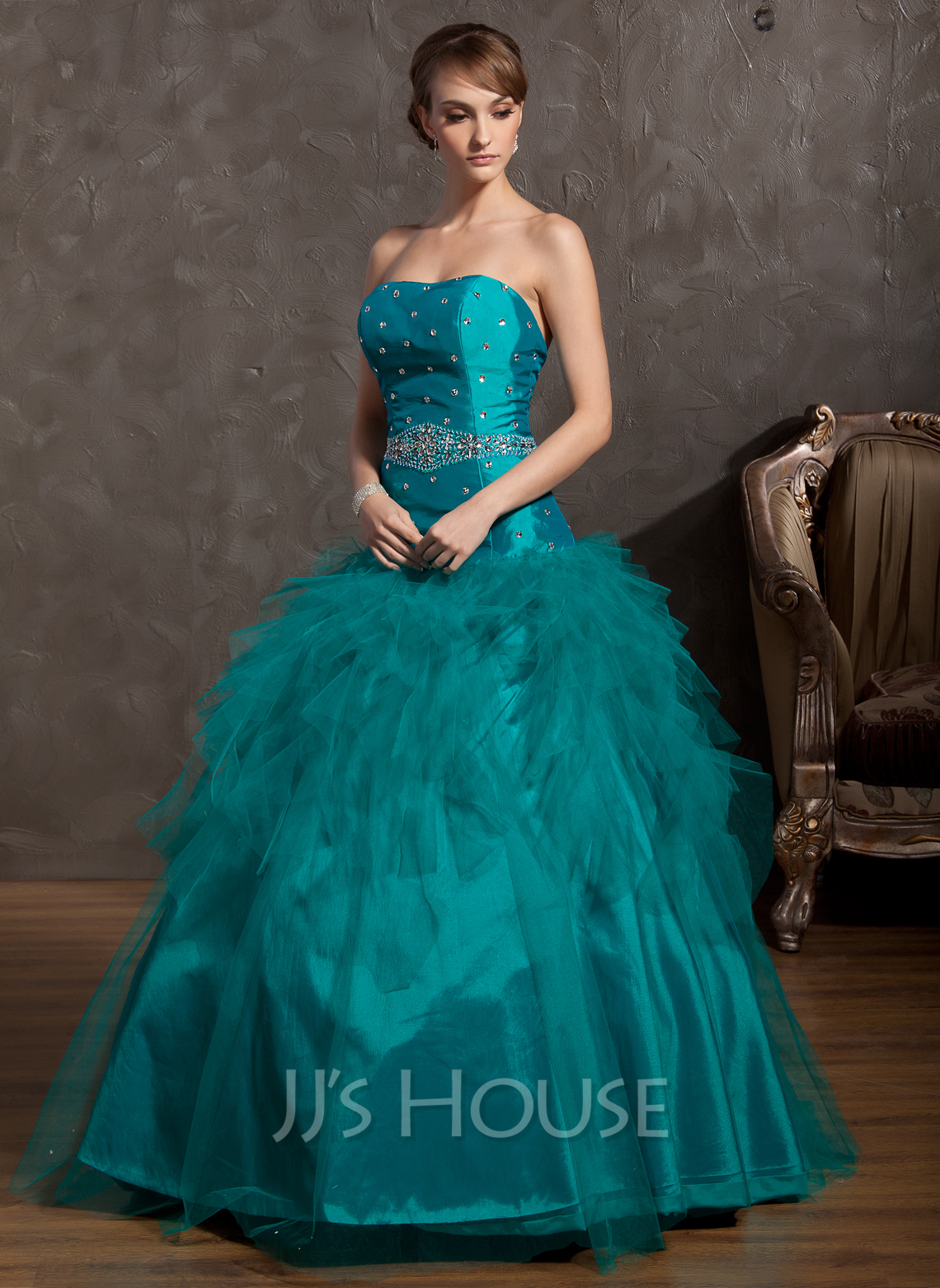 Ball-Gown Strapless Floor-Length Tulle Quinceanera Dress With ...