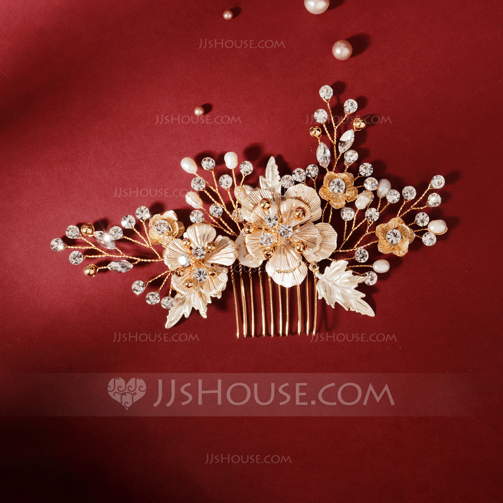 Ladies Personalized Rhinestone/Alloy/Imitation Pearls Combs & Barrettes With Rhinestone (Sold in single piece)