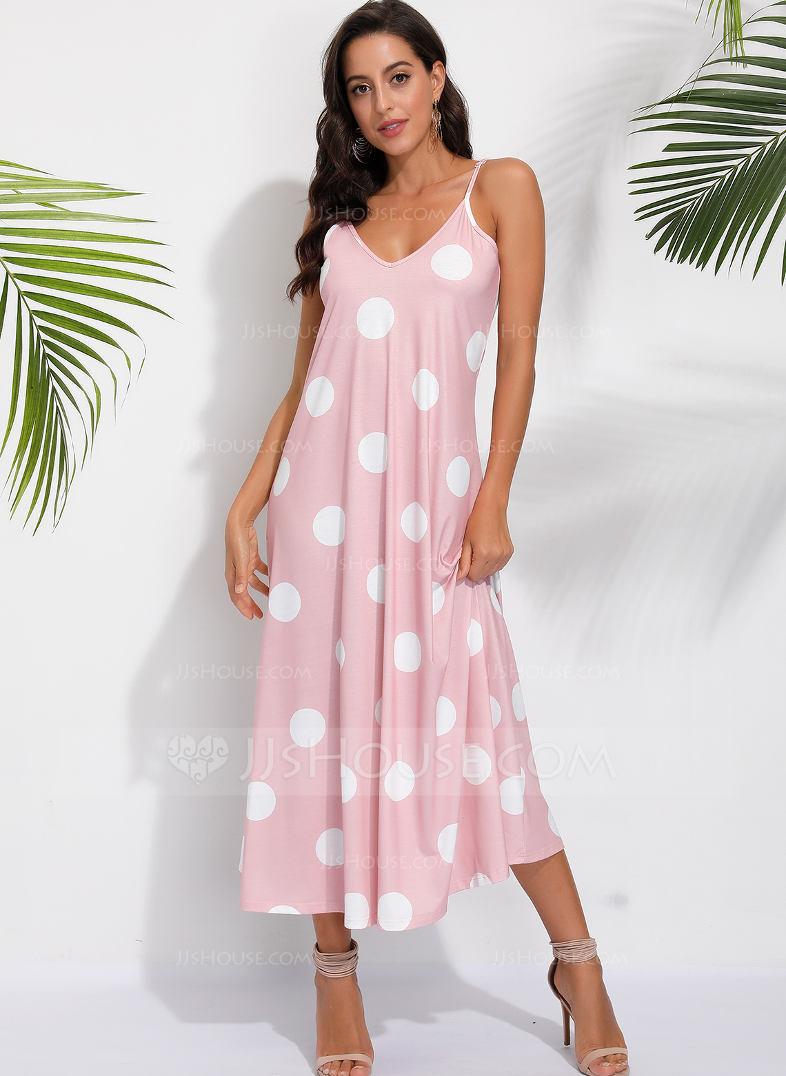 Polyester With PolkaDot Maxi Dress