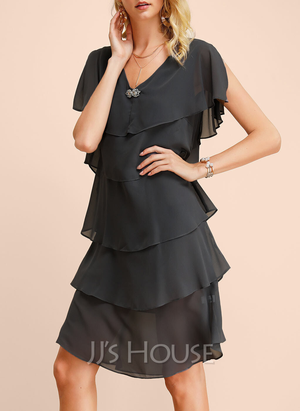 Chiffon With Solid Knee Length Dress