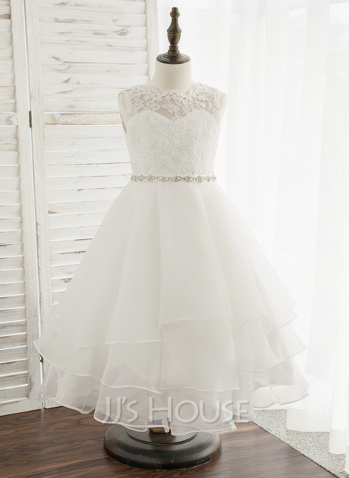 Tea-length Flower Girl Dress - Organza Lace Sleeveless Scoop Neck With Beading Rhinestone