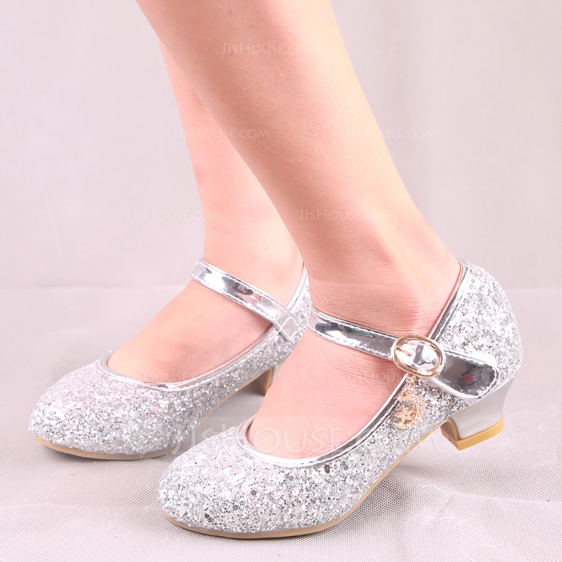 f866fb89994d Girl s Round Toe Closed Toe Leatherette Sparkling Glitter Low Heel Flats  Flower Girl Shoes With Buckle. Loading zoom