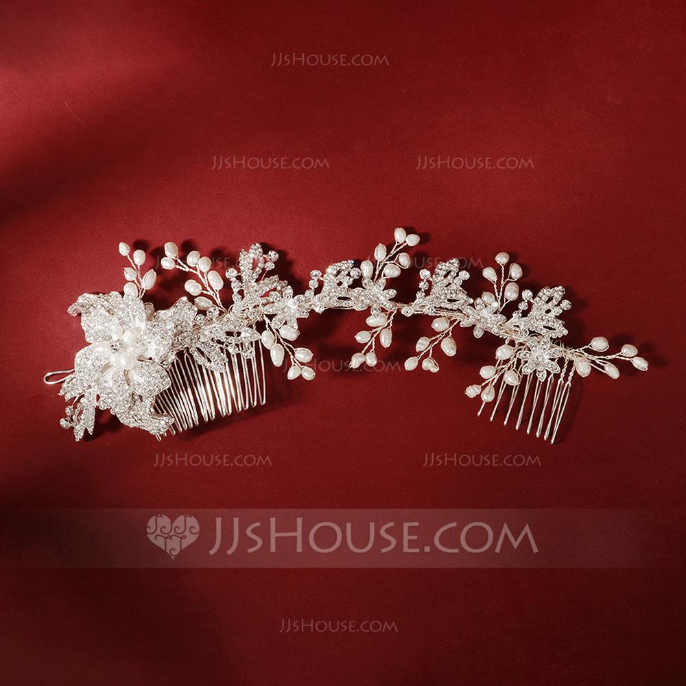 Ladies Elegant Rhinestone/Alloy/Imitation Pearls Combs & Barrettes With Rhinestone (Sold in single piece)