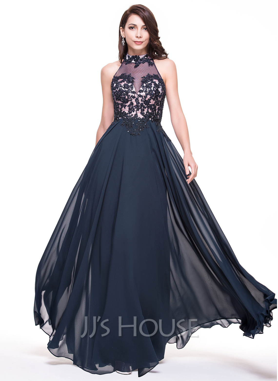 High Neck Floor-Length Chiffon Evening Dress With Lace Beading Sequins