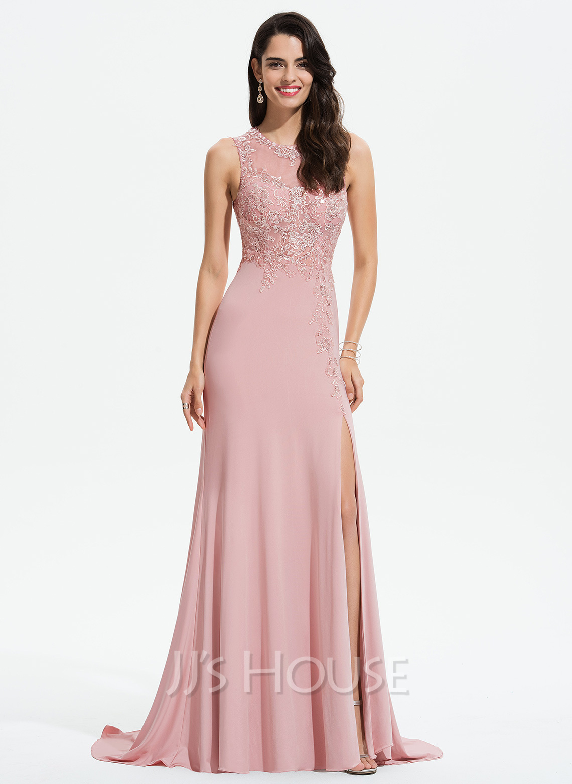 Sheath/Column Scoop Neck Sweep Train Jersey Prom Dresses With Lace Split Front