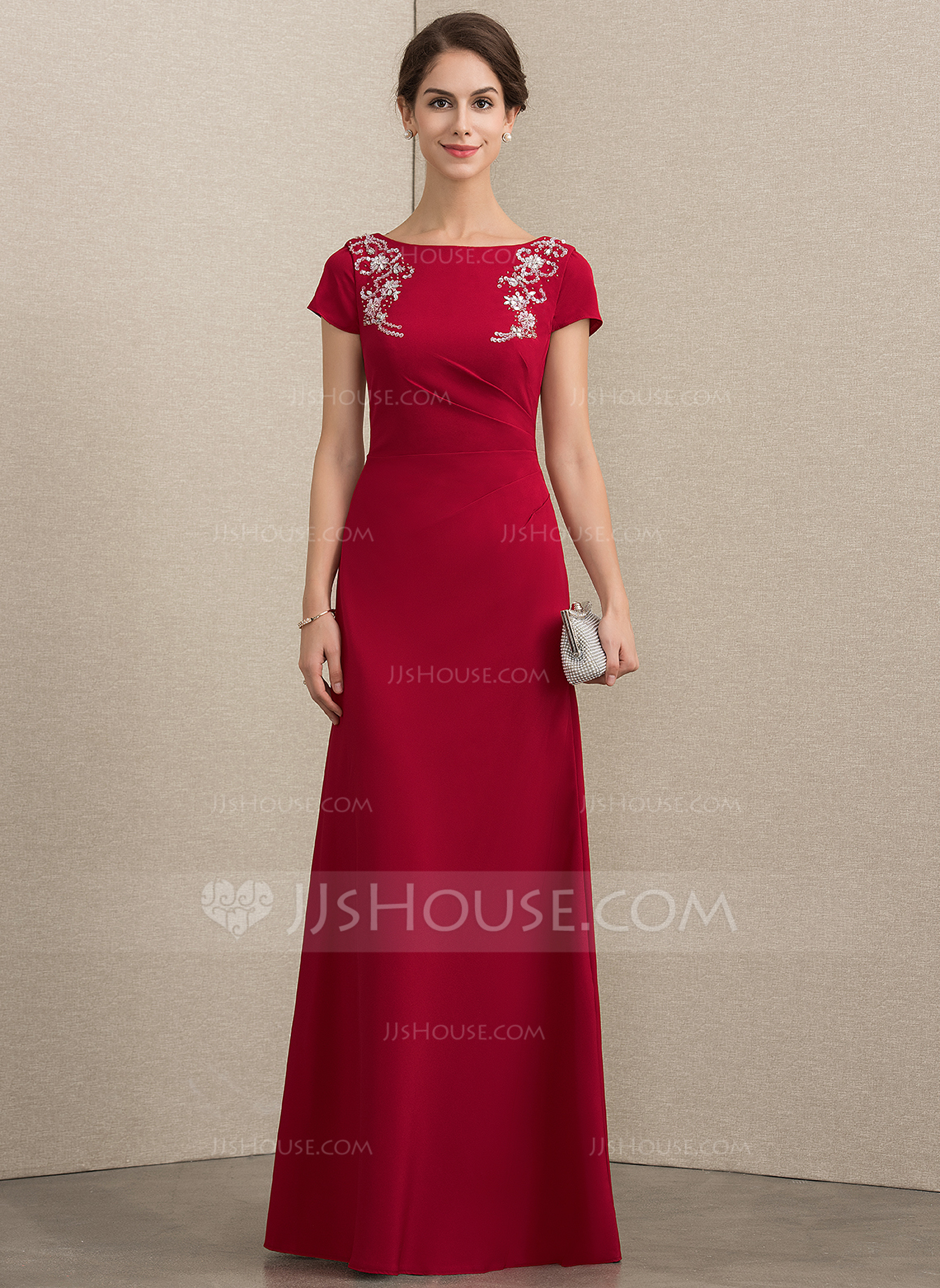 A-Line/Princess Scoop Neck Floor-Length Stretch Crepe Mother of the Bride Dress With Beading Sequins