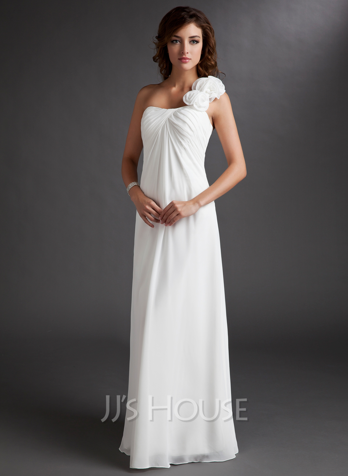 Chiffon One Shoulder Floor Length Empire Bridesmaid Dress Loading Zoom