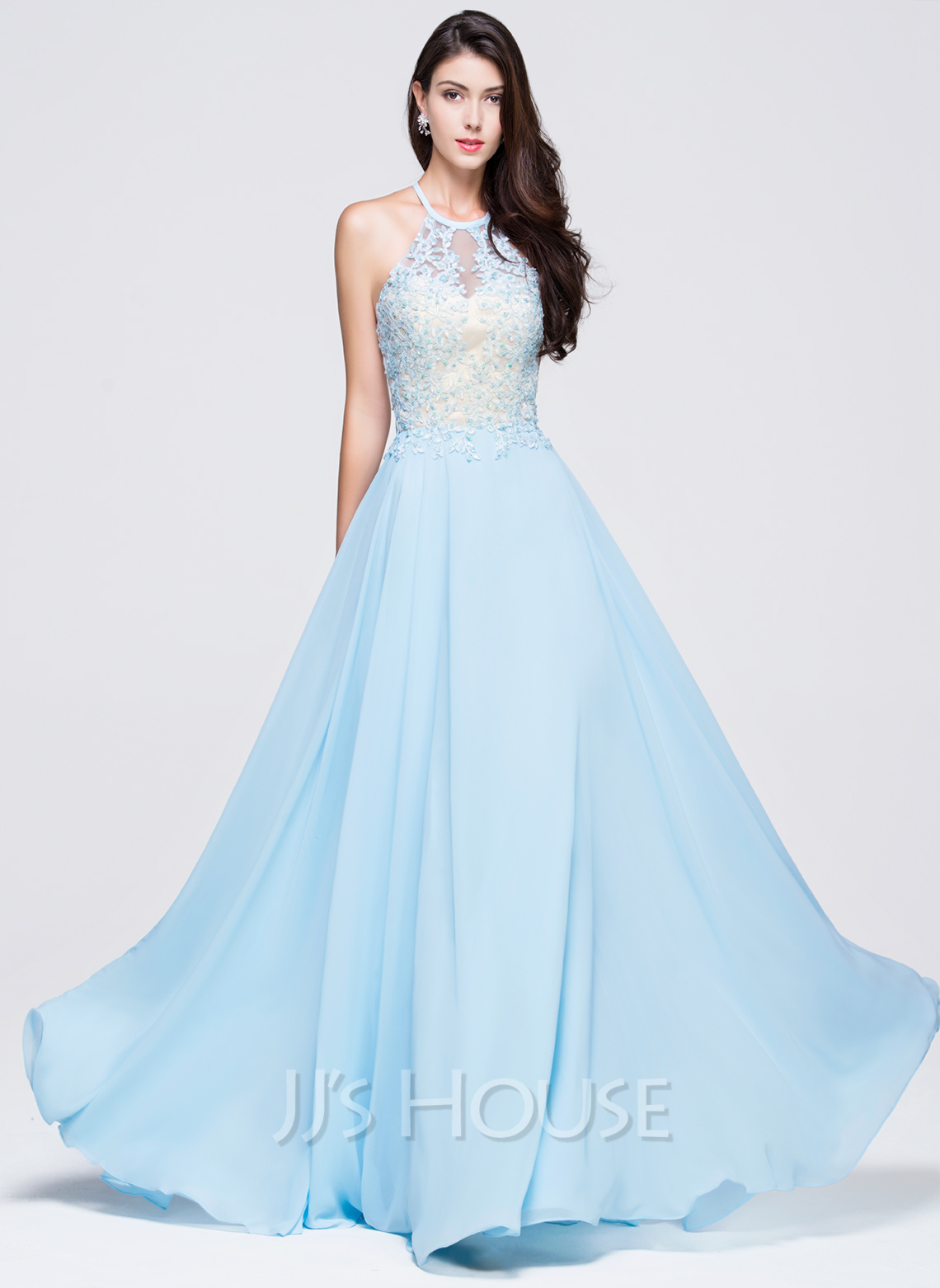 79a6350a3a2 A-Line Princess Scoop Neck Floor-Length Chiffon Prom Dresses With Beading  Appliques. Loading zoom