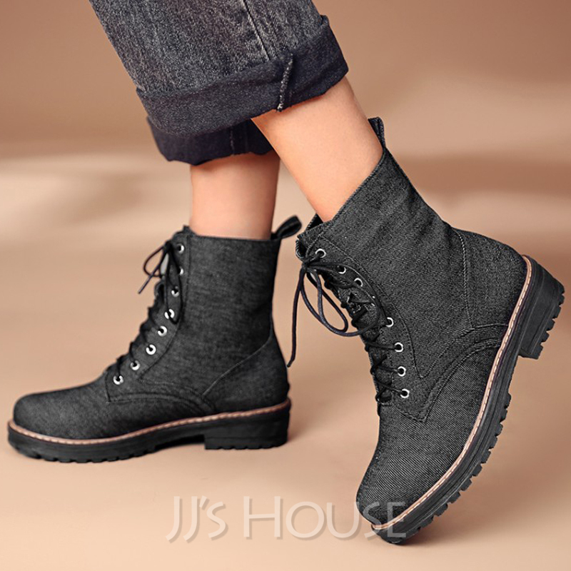Women's Low Heel Ankle Boots Round Toe With Lace-up shoes