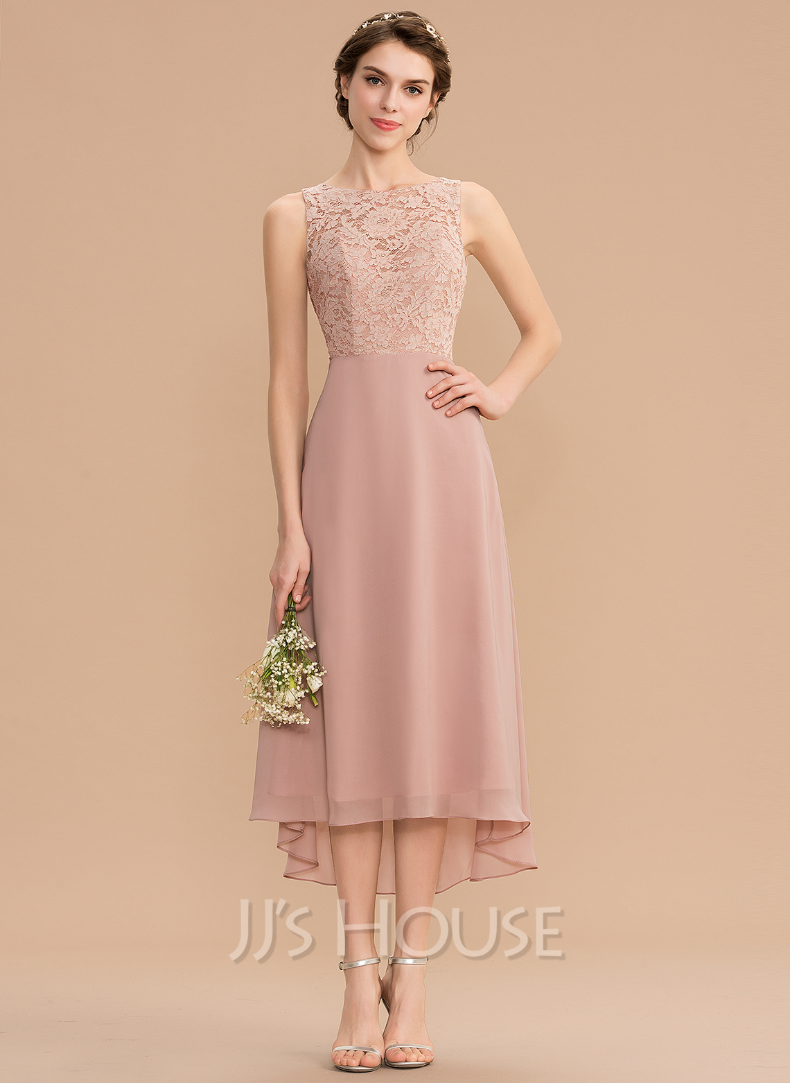 Scoop Neck Asymmetrical Chiffon Lace Bridesmaid Dress With Bow(s)
