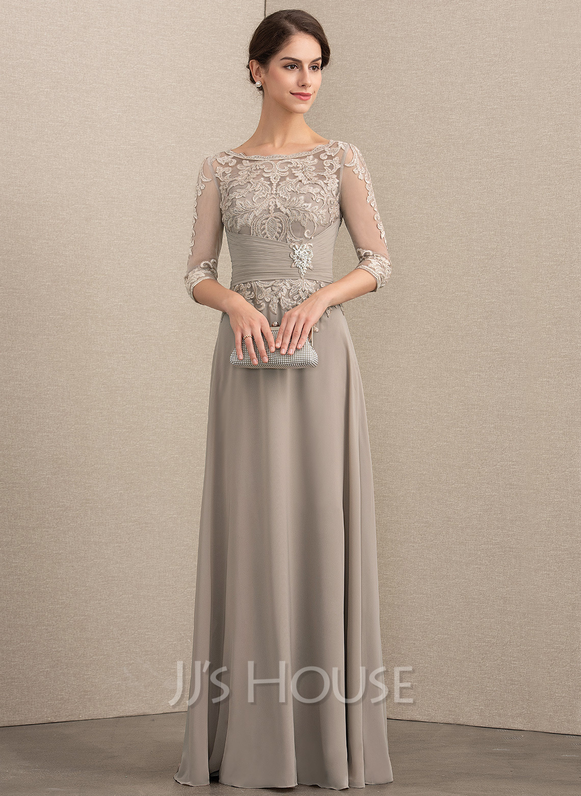 Scoop Neck Floor-Length Chiffon Lace Mother of the Bride Dress With Crystal Brooch Sequins