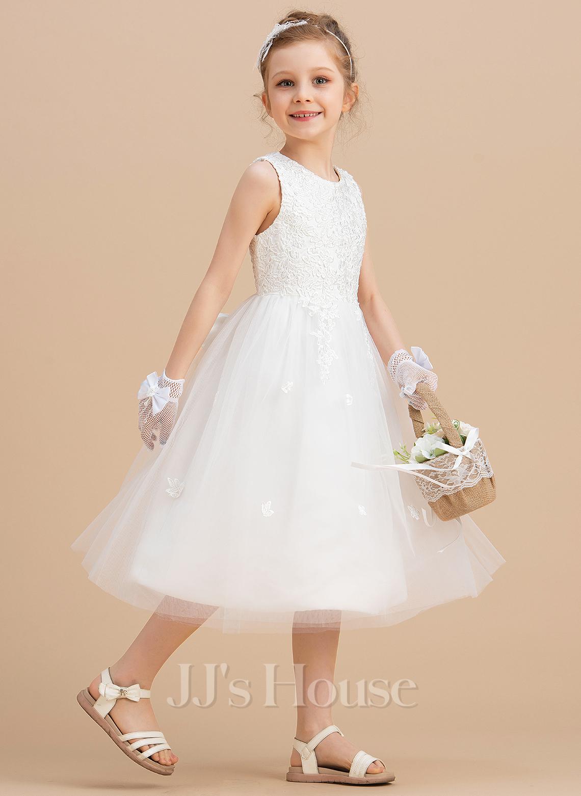 A-Line Tea-length Flower Girl Dress - Satin/Tulle Sleeveless Scoop Neck With Bow(s)