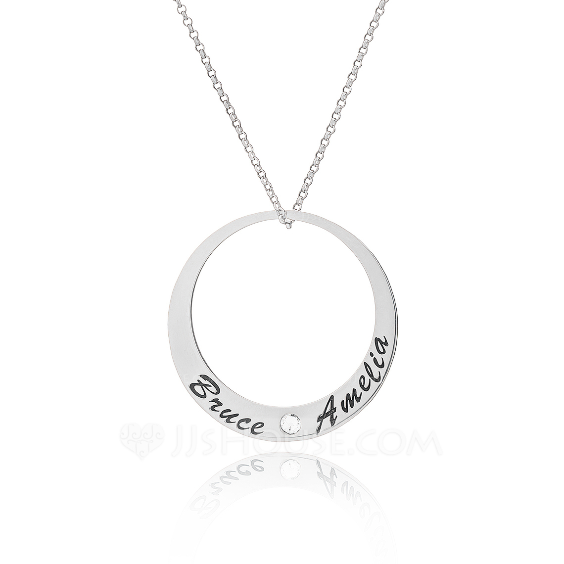 Custom Sterling Silver Engraving/Engraved Circle Circle Necklace With Diamond - Birthday Gifts Mother's Day Gifts