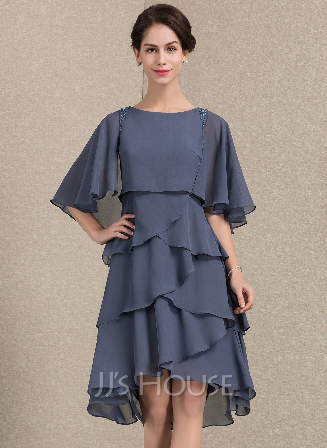 A-Line Scoop Neck Asymmetrical Chiffon Mother of the Bride Dress With Beading Sequins Cascading Ruffles