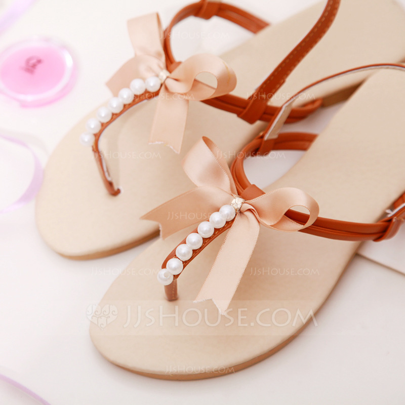 Women's Leatherette Flat Heel Flats Peep Toe Sandals With Bowknot Pearl