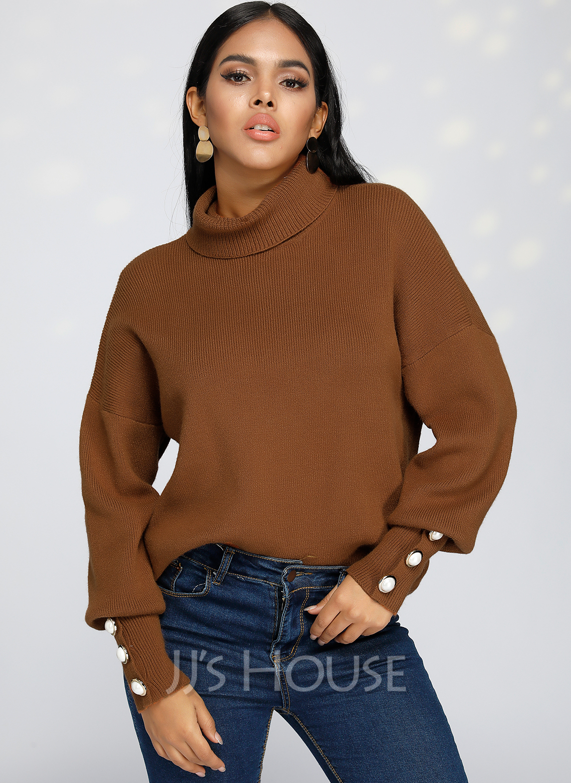 Solid Polyester Turtleneck Pullovers Sweaters