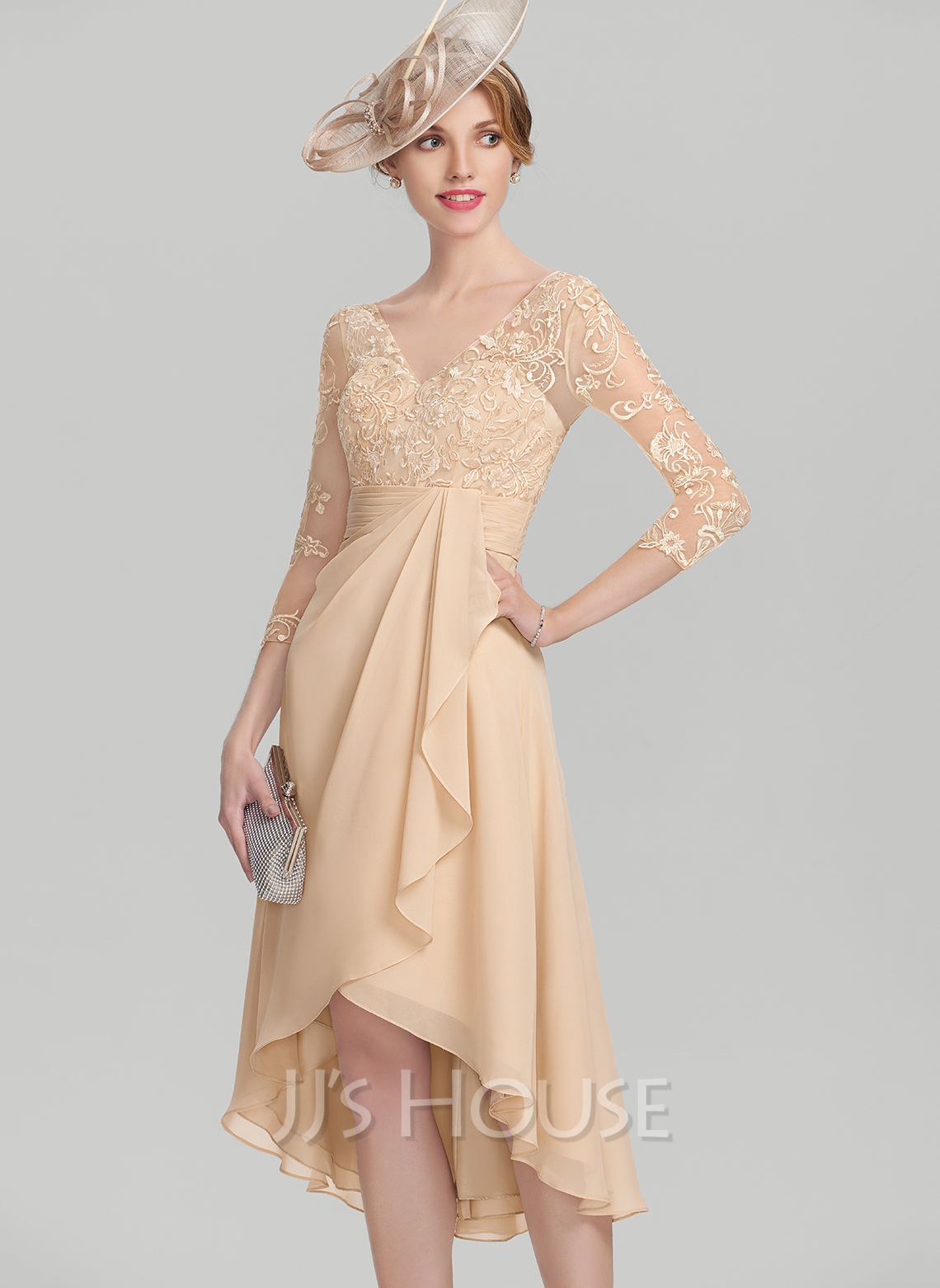 V-neck Asymmetrical Chiffon Lace Mother of the Bride Dress With Cascading Ruffles