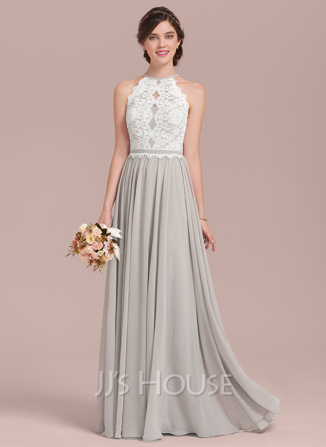 4a680ff6add A-Line Scoop Neck Floor-Length Chiffon Lace Bridesmaid Dress. Loading zoom