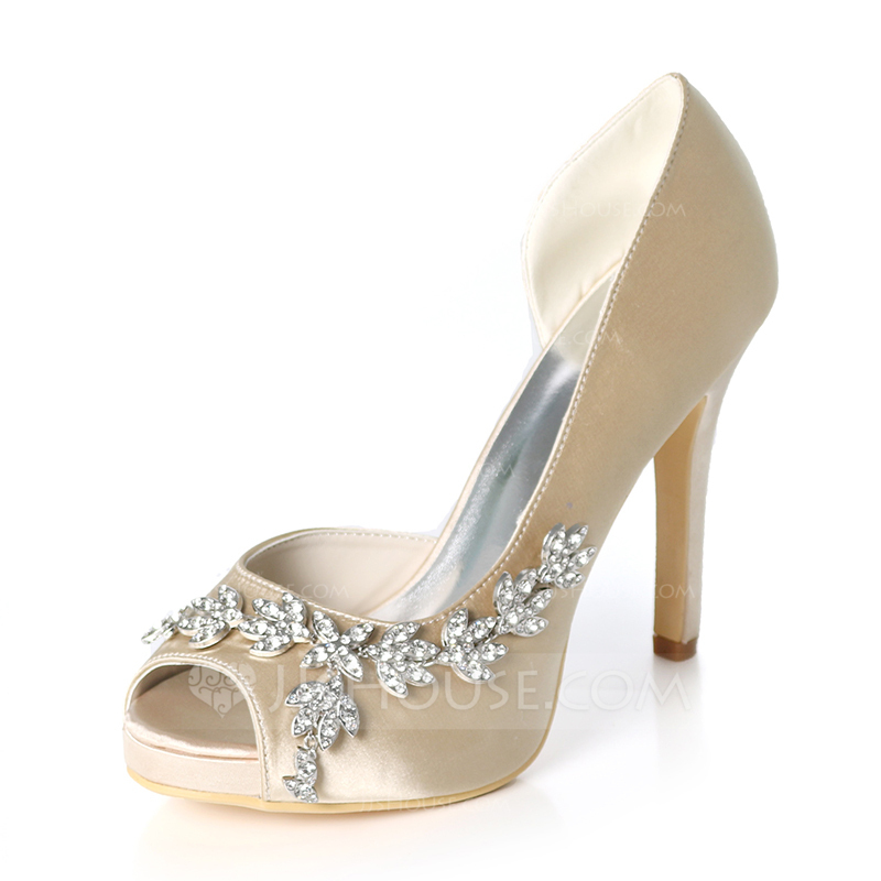 d8a90c0fafb0 Women s Silk Like Satin Stiletto Heel Peep Toe Platform Pumps With  Rhinestone. Loading zoom