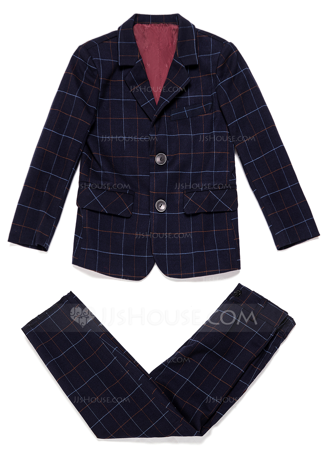 Boys 2 Pieces Plaid Ring Bearer Suits /Page Boy Suits With Jacket Pants