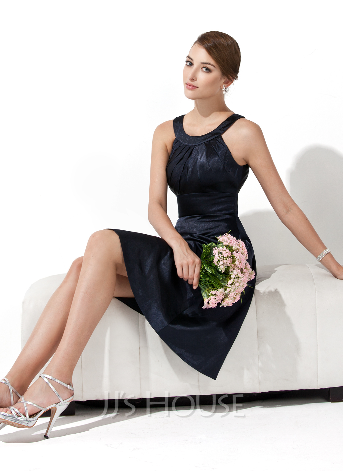 A Line Halter Sleeveless Knee Length Charmeuse Bridesmaid