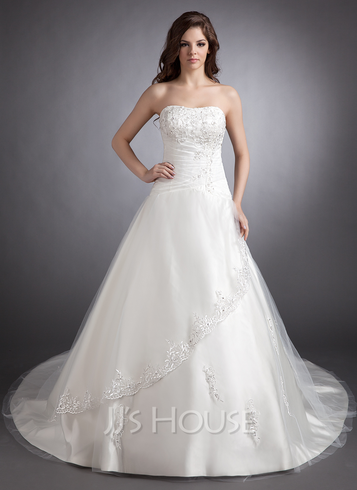 Ball-Gown Sweetheart Chapel Train Satin Wedding Dress With Lace Beading