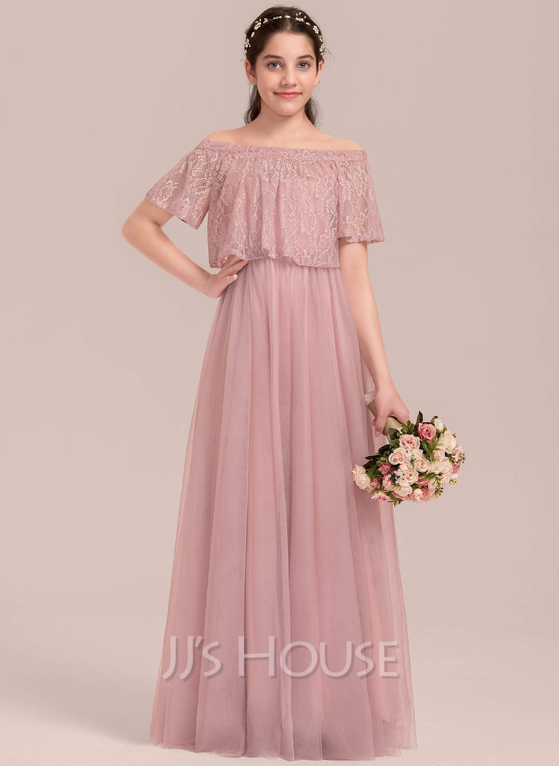Off-the-Shoulder Floor-Length Tulle Junior Bridesmaid Dress