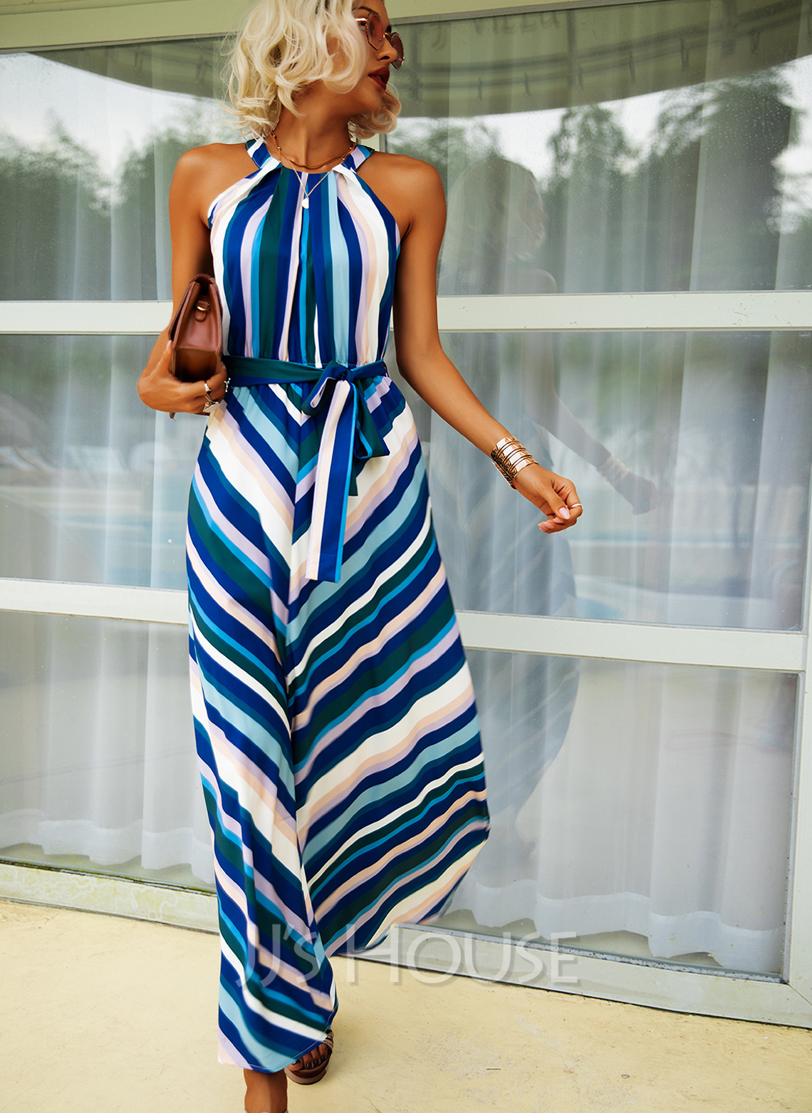 Print Striped A-line Halter Sleeveless Maxi Casual Skater Dresses