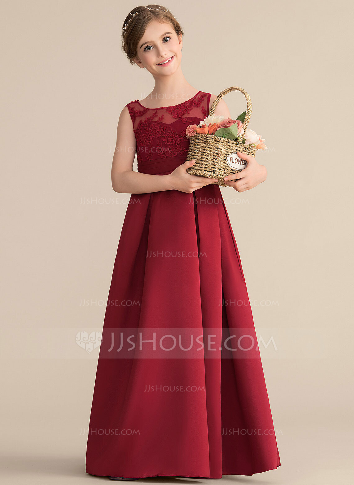 A-Line Scoop Neck Floor-Length Satin Lace Junior Bridesmaid Dress With Ruffle Bow(s)
