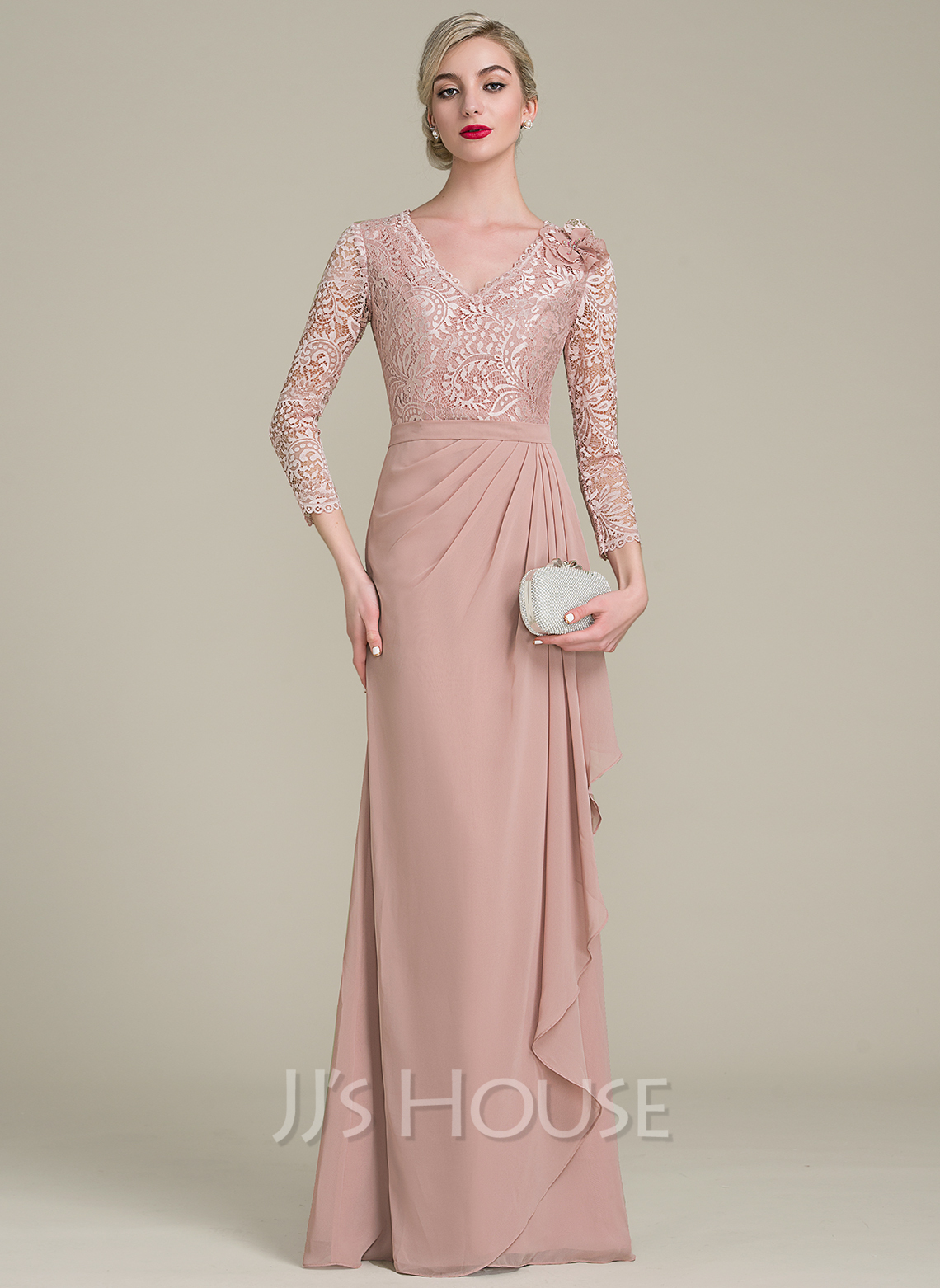 V-neck Floor-Length Chiffon Lace Mother of the Bride Dress With Flower(s) Cascading Ruffles