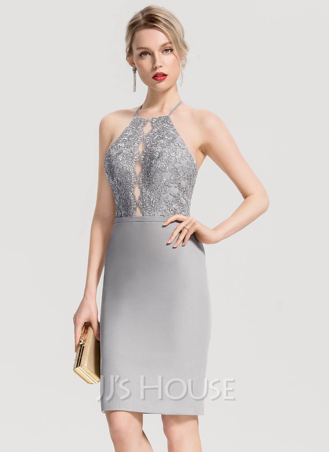 Sheath/Column Square Neckline Knee-Length Chiffon Cocktail Dress With Beading Appliques Lace