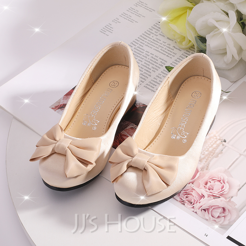 Girl's Closed Toe Satin Flower Girl Shoes With Bowknot