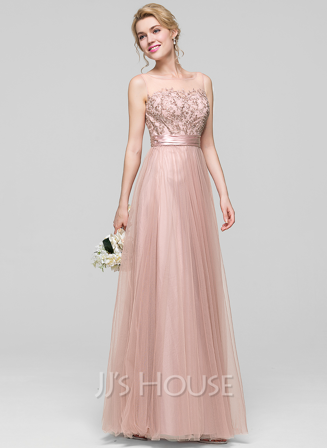 Scoop Neck Floor-Length Tulle Bridesmaid Dress With Ruffle
