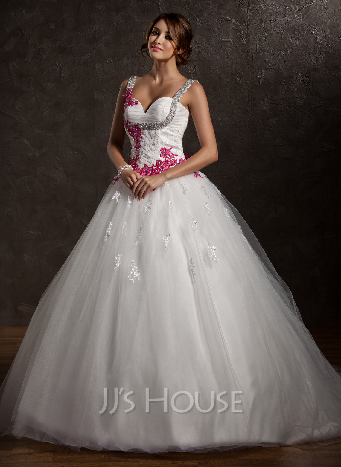 Ball gown sweetheart chapel train tulle wedding dress with for Jj wedding dresses reviews