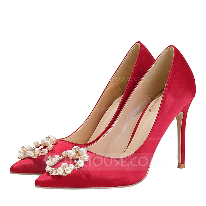 a02f8c88160d Women s Satin Stiletto Heel Closed Toe Pumps With Crystal Pearl. Loading  zoom
