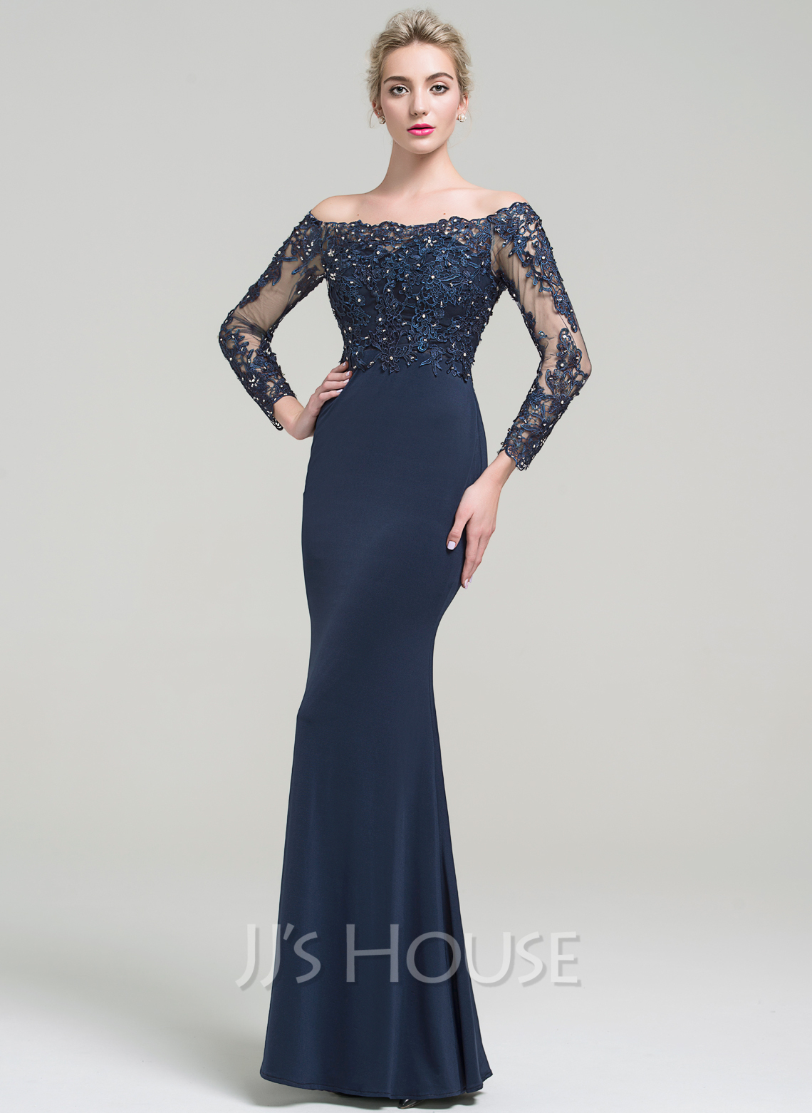 Trumpet/Mermaid Off-the-Shoulder Floor-Length Jersey Prom Dresses With Beading Sequins