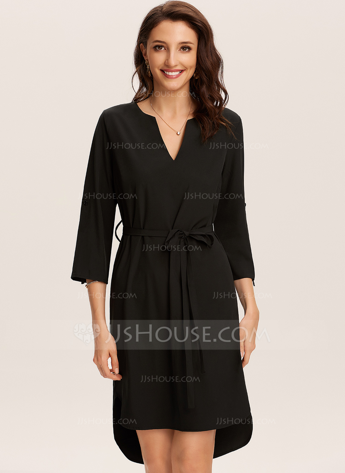 Polyester With Solid Above Knee Dress